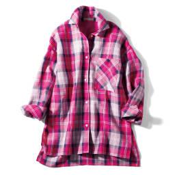イタリア素材 チェック柄 リネン シャツ