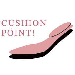 スクエアトゥ ビットパンプス 【ピンクの部分がクッションポイント】足裏全面に3mm厚クッションを敷き、さらに荷重が掛かる踵上に2mm厚クッションを重ねて、疲れにくい足あたりを実現。