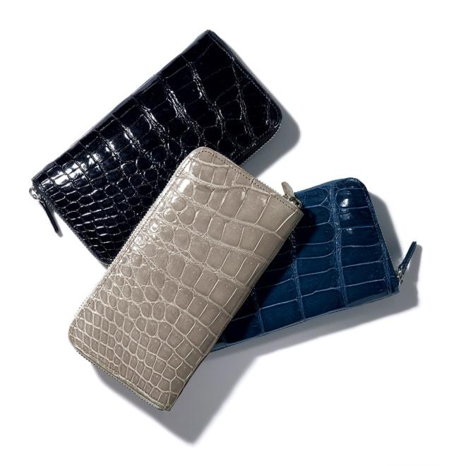 クロコダイル 三方長財布 左から (ア)ブラック (ク)アイスグレー (エ)ネイビー