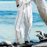 【股下丈68cm】 リネン混 ストライプ ワイドパンツ 写真