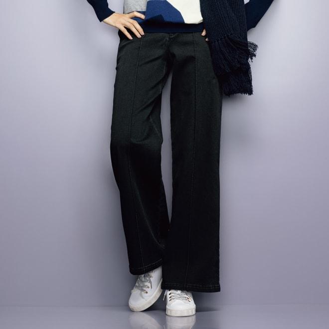 トルコデニム ピンタック使い ワイドパンツ 【股下丈72cm】 (イ)ブラック 着用例