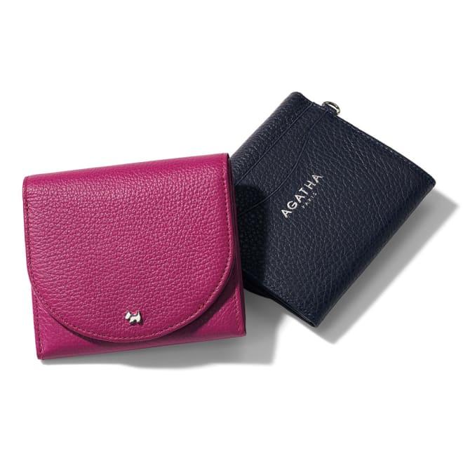 AGATHA PARIS/アガタ パリ 二つ折り財布 左から (ア)フューシャピンク (イ)ネイビー