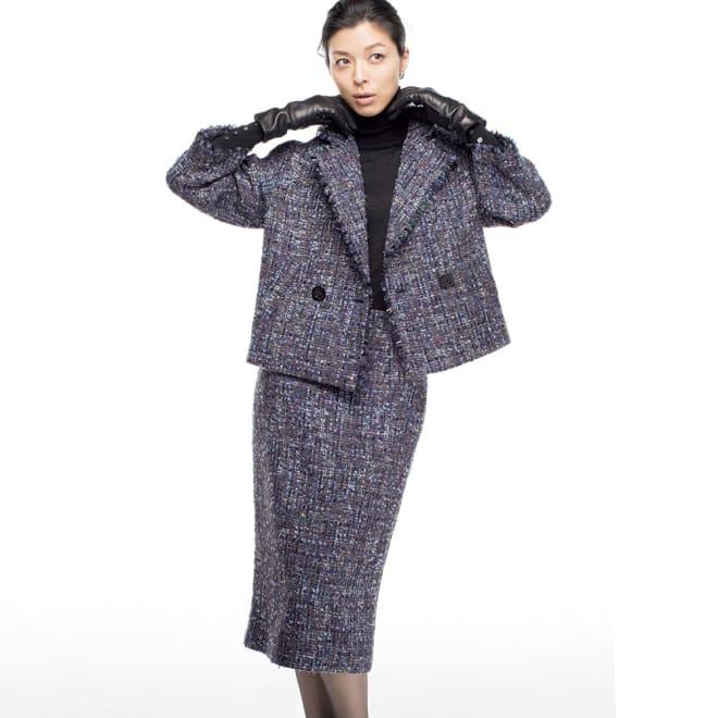 ソルデボロ社 ファンシーツイード スーツセット(ジャケット+スカート) 着用例