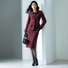 PIACENZA/ピアツェンツァ からみ織り ループツイード スーツセット(ジャケット+スカート)