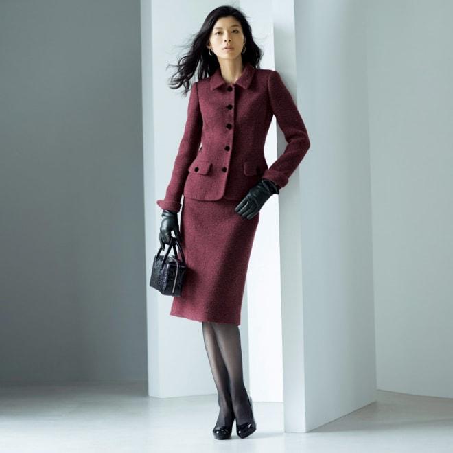 PIACENZA/ピアツェンツァ からみ織り ループツイード スーツセット(ジャケット+スカート) コーディネート例