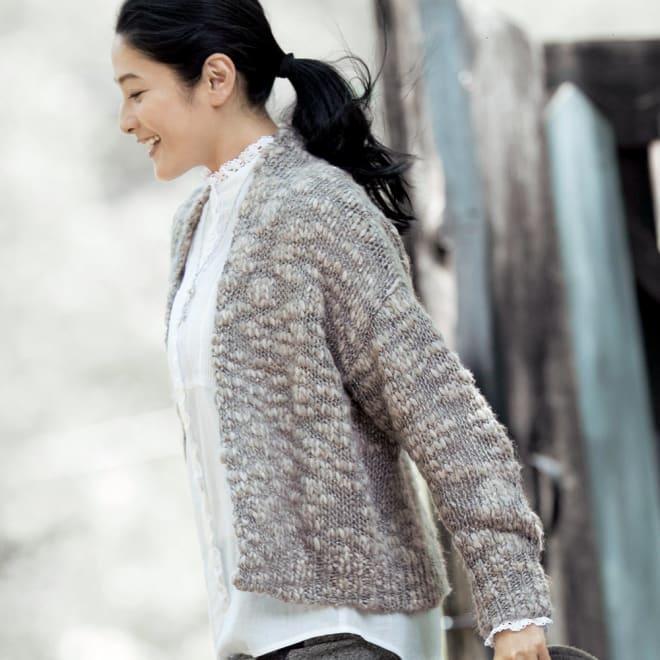 イタリア糸 ファンシーヤーン ショートカーディガン 着用例