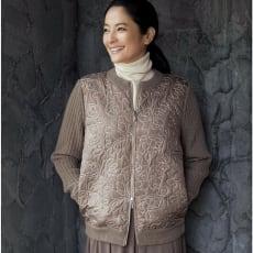 イタリア素材 スパンコール使い キルト&イタリア糸 ニットジャケット