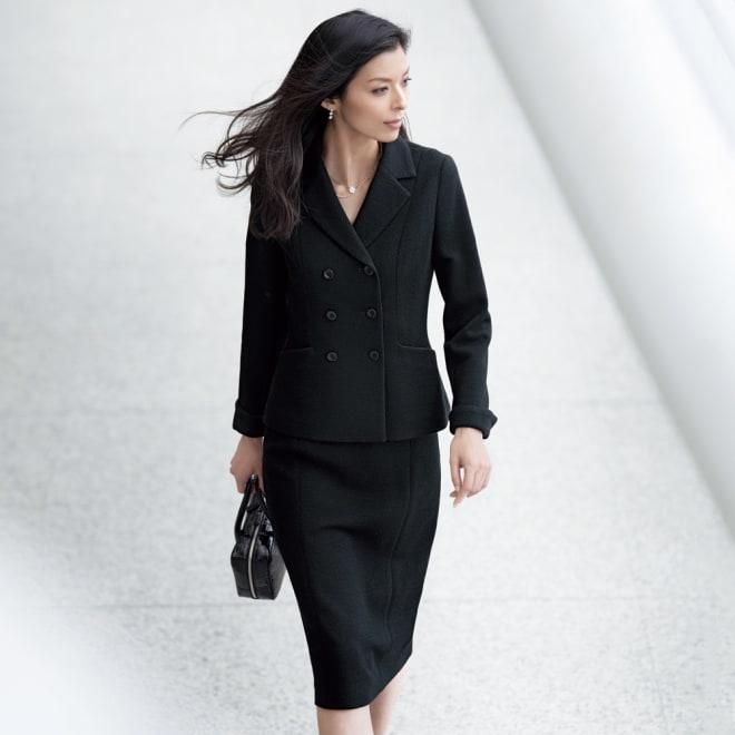 ドンディ社 ウールジャージー スーツセット(ジャケット+スカート) 着用例