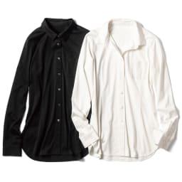 スビン綿 天竺ジャージー シャツ 左から (イ)ブラック (ア)ホワイト