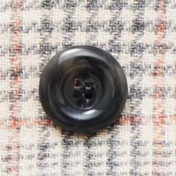 イタリア素材 ウール混 リバーシブル フーデッドコート ボタン部分(チェック面)