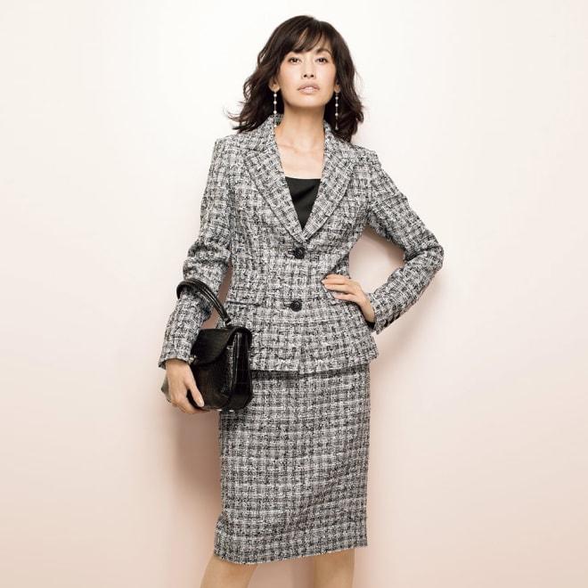 マリア・ケント社 ファンシーツイード スーツセット(ジャケット+スカート) コーディネート例