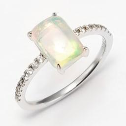 K18WG エチオピアオパール ダイヤ デザインリング