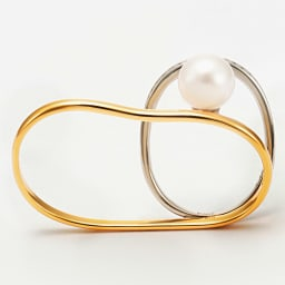 K18・Pt 0.2ctダイヤ ダブルリング アコヤ真珠