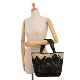 シーグラス×マリン モチーフレース かごバッグ 着用例