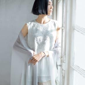 イタリアンレース&ビーズ刺繍 シルクシフォン チュニック 写真