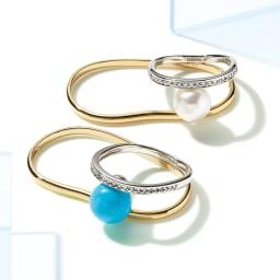 K18・Pt 0.2ctダイヤ ダブルリング 上から アコヤ真珠、ターコイズ