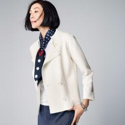イタリア糸 「エミールコトーニ」 強撚コットン ミラノリブ ニットジャケット (ア)オフホワイト コーディネート例 /エミールコトーニの「白」だからマリンスタイルもリッチに。