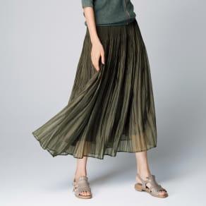オーガンジー素材 変形プリーツ スカート 写真