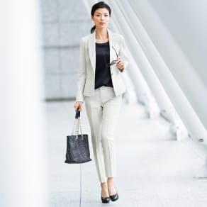 【股下丈63cm】 ラメ入り リネン混素材 スーツセット(ジャケット+パンツ) 写真