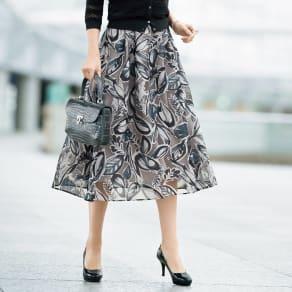 リーフ柄 オパール加工 フレアースカート 写真