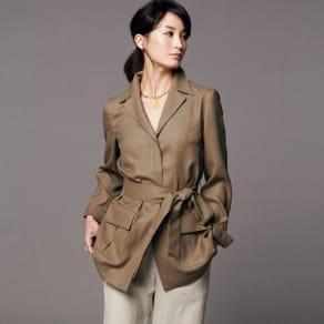 トリアセテート混 フラップポケット シャツジャケット 写真
