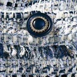 クラレンソン社 ファンシーツイード ポケットデザイン ワンピース ボタン部分