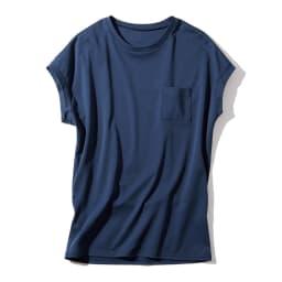 スビン綿 ポケット付き Tシャツ (イ)ネイビー