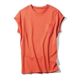 スビン綿 ポケット付き Tシャツ (ウ)オレンジ