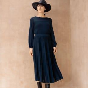 編み地切り替え ニット セットアップ(プルオーバー+スカート) 写真