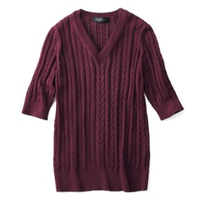 イタリア糸 ギザコットン ケーブル編み プルオーバー 写真