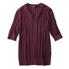 イタリア糸 ギザコットン ケーブル編み プルオーバー