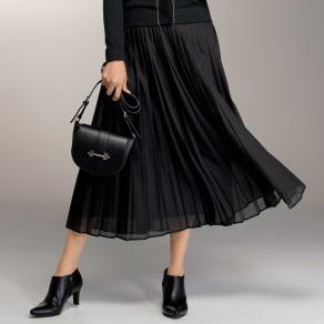 シアー素材 ロング プリーツスカート 写真