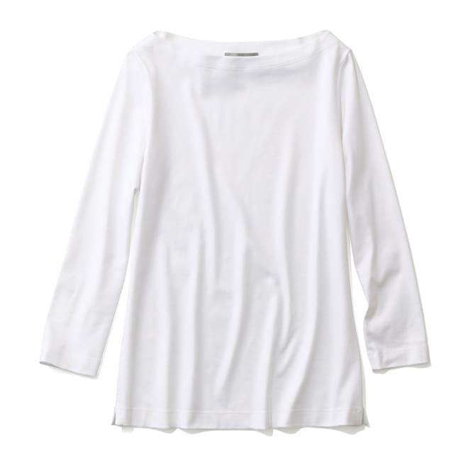 スビン綿 ボートネック 八分袖 プルオーバー (ア)ホワイト