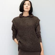 ボールチェーン使い イタリア糸 畦編み ニットプルオーバー