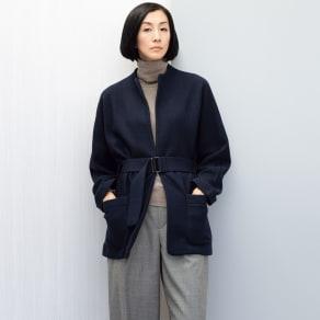 イタリア糸 圧縮ウール ニットジャケット 写真