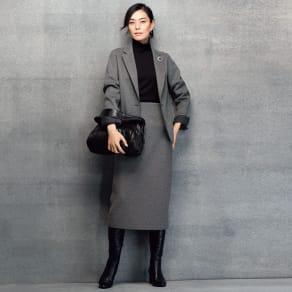ウール混 ダブルフェイスジャージー TPS スーツセット(ジャケット+スカート) 写真