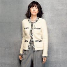 マリア・ケント社 ファンシーツイード使い イタリア糸 ニットジャケット