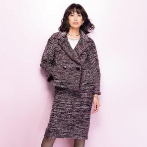 イタリア素材 ツイード スーツセット(ジャケット+スカート) 写真