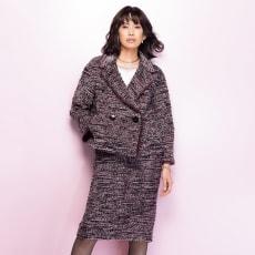 イタリア素材 ツイード スーツセット(ジャケット+スカート)