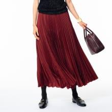 サテン素材 変形プリーツ スカート
