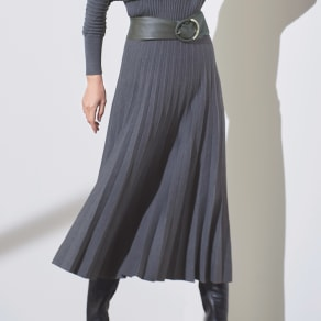 総針編み プリーツ風 スカート 写真