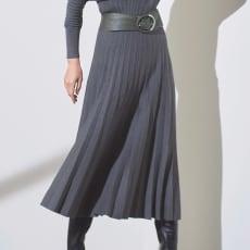 総針編み プリーツ風 スカート