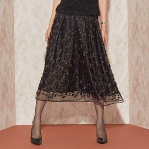ジュニオール社 立体刺繍 チュールレース スカート 写真
