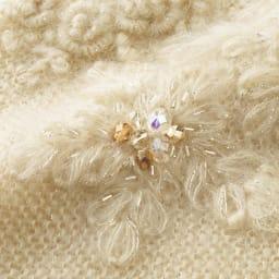 モヘヤシルク フラワー刺繍 ドルマン プルオーバー 刺繍部分