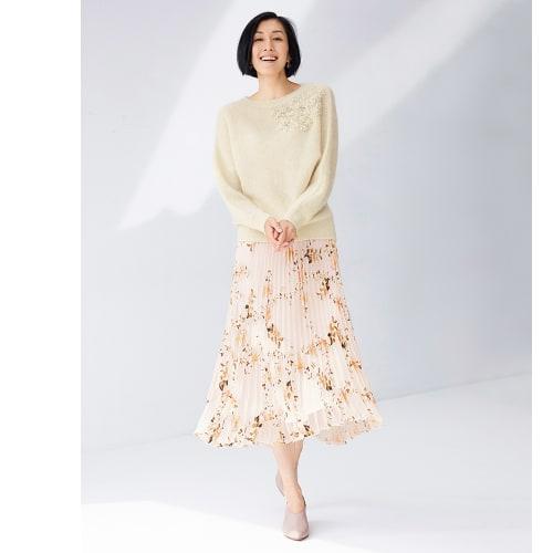フラワーオパールプリント プリーツスカート 画像