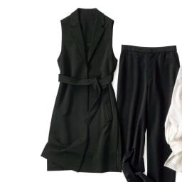 強撚レーヨン混 ポンチ ベルト付き ジレ ※パンツは別売りです。