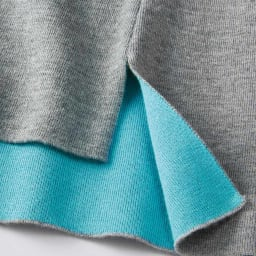 イタリアウール&コットン糸使用 接結 リバーシブル ニットプルオーバー (ア)ライトグレー×ターコイズ