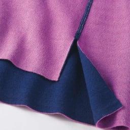 イタリアウール&コットン糸使用 接結 リバーシブル ニットプルオーバー (イ)ネイビー×ピンク