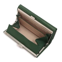 クロコ型押し 口金 長財布 (ウ)グリーン INSIDE