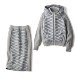 イタリアキルト素材使い ニット切り替え セットアップ (パーカ+スカート) パーカ+スカート
